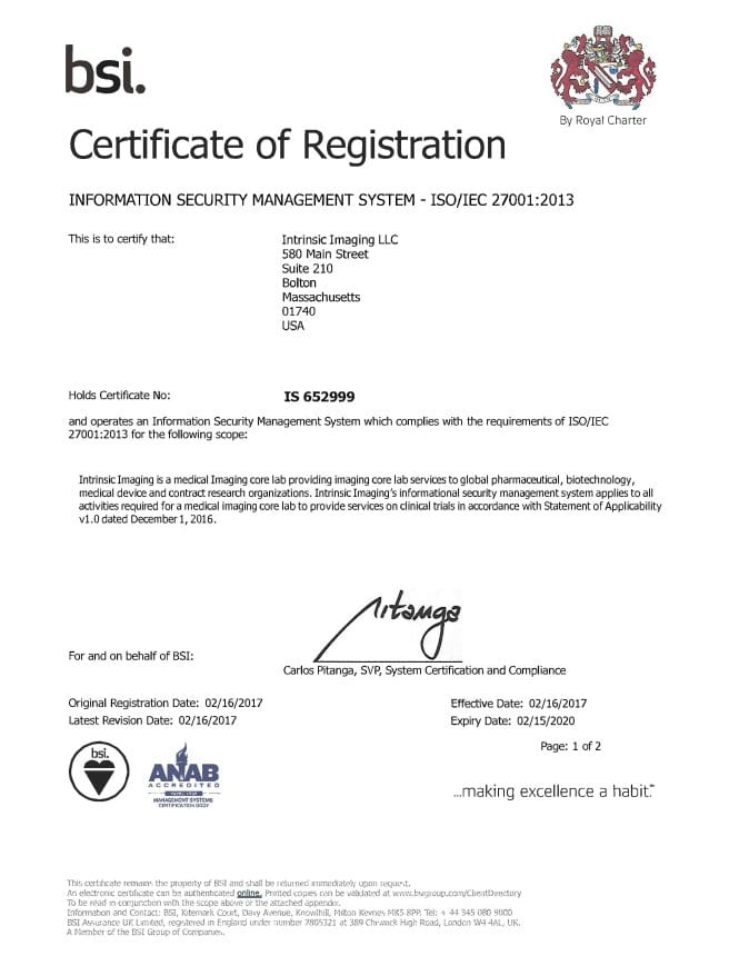 ISO 27001 Certified Imaging Core Lab